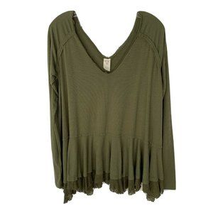 FREE PEOPLE Top M Army Green Oversized Long Sleeve